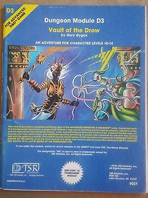 Advanced Dungeons & Dragons VAULT OF THE DROW D3 1980 AD&D Module