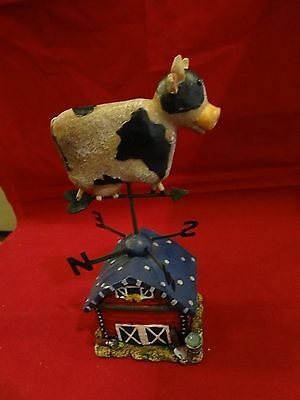 "Holstein Country Cow Farm Barn Figurine Statue - Weather Vane - 7 3/4"" H"