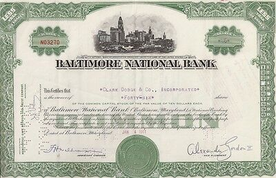 Baltimore National Bank,,,,,1961 Stock  Certificate