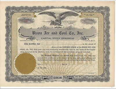 Bison Ice And Coal Co. Inc (Buffalo Ny)........unissued Stock Certificate