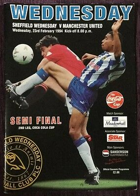 League Cup Semi Final Football programme 1994 Manchester United v Sheffield Wedn