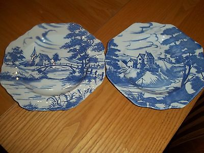 2 x SPODE ENGLISH DELFTWARE PLATES - SCENES 1 & 2 - SUPERB
