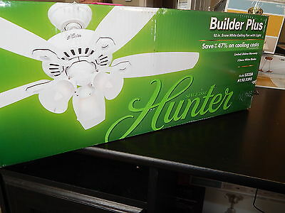 Hunter Builder Plus 52 in. Snow White Ceiling Fan with Light