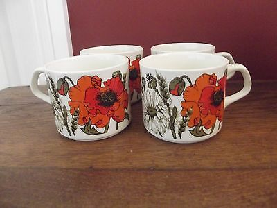 j and g meakin poppies cups x 4