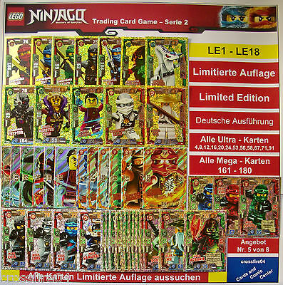 LEGO NINJAGO TRADING CARDS LIMITIERTE AUFLAGE LE1 - LE18 GOLD SERIE 2 Auswahl