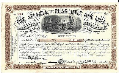 The Atlanta And Charlotte Air Line Railway Company....1936 Stock Certificate