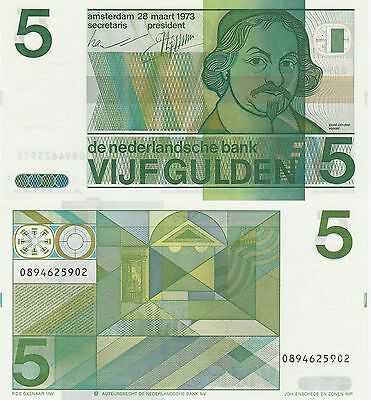 Netherlands 5 Gulden Banknote 1973 Uncirculated Condition Cat#95-A-5902