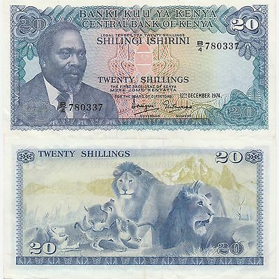 "Kenya 20 Shillings Banknote,1974 Choice Extra Fine Condition Cat#13-A-0337""Lions"