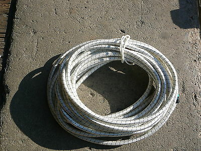 """White/Black Nylon Coated Rubber Rope Shock Cord 3/8"""" X 37' Discounted Bungee"""