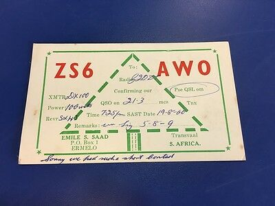 Vintage QSL Ham Radio Card - 1960 - ZS6AWO South Africa To UK