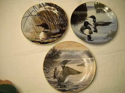 """Collectible Plates (3)  Numbered 8"""" Loons by various Artists"""
