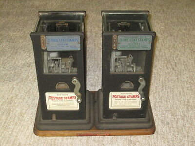 Two Antique Coin Operated Postage 3 & 4 Cent Stamp Machines, Schermack Victory!
