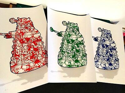 Dalek RGB Dr who sci fi meets pop art Limited edition prints x3 by Chris Boyle