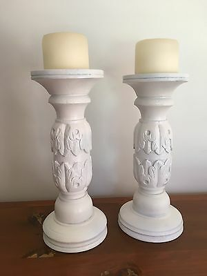 White Timber Shabby Chic Rustic Candle Holder