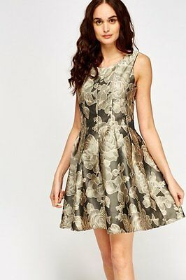 BNWT GORGEOUS BLACK AND GOLD FLORAL DRESS - size 10 WEDDING GUEST PROM PARTY