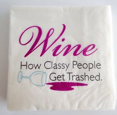 Lot Of 2 Packs Wine How Classy People Get Trashed Cocktail = 50 Beverage Napkins