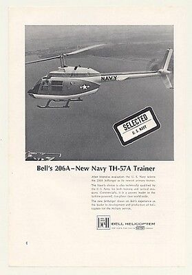 1968 Bell 206A JetRanger Navy TH-57A Helicopter Photo Ad