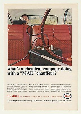 1964 Humble Oil Enjay Chemical MAD Mileage Accumulation Dynamometer Chauffeur Ad