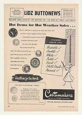 1954 Lidz Brothers Costumakers Buttons Trade Print Ad