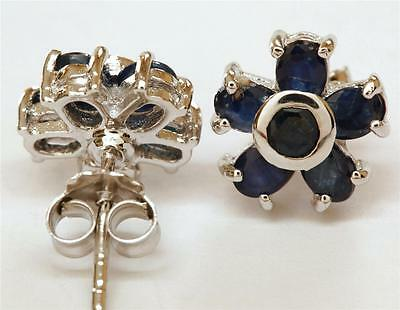 CLASSY NATURAL Midnight Blue SAPPHIRE Sterling Silver 925 FLOWER Stud EARRINGS