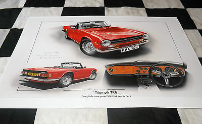 Triumph Tr6 Tr 6 2.5 Straight 6 1972 New Painting Print Art Christopher Dugan A+