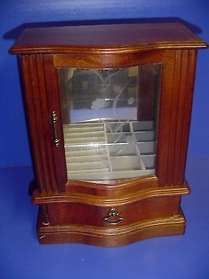 Vintage Wood Jewelry Box Armoire Chest Glass Door Ring Storage Mirror Necklace