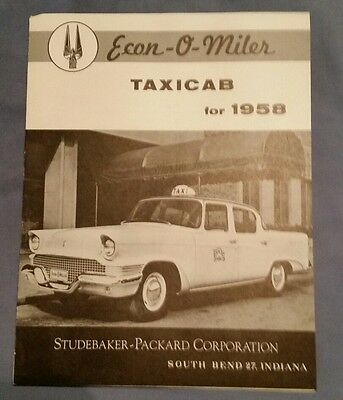 RARE Vintage 1958 Studebaker Packard Taxi Cab Brochure Revised 3/58 specs info
