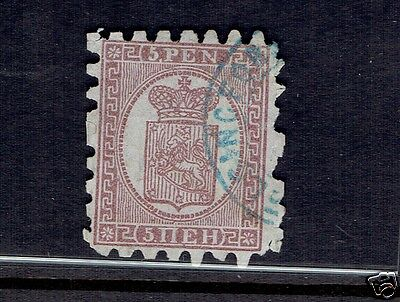 FINLAND #6 COAT OF ARMS purple brown on lilac paper F-VF 5p partial CDS