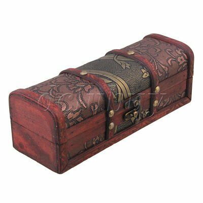 Red Wood Retro Jewelry Storage Organizer Wooden Case Treasure Chest Box
