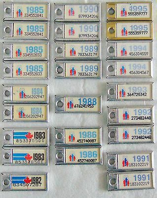 30 Canada War Amps MINI Key Chain Licence Plates ALL Are PAIRS, 1981-95