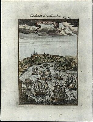 St. Salvador Africa Caribbean slave trade ships 1719 charming antique hand color