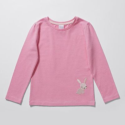NEW Long Sleeve Stripe Bunny Embroidered T-Shirt Kids