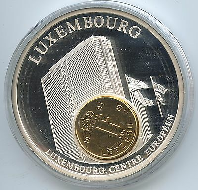 GY278 Große Medaille Luxemburg mit 1 Franc 1991 European Currencies Europ.Centre
