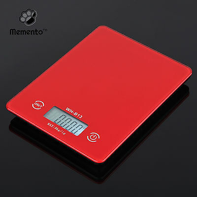Memento™ 5Kg Digital Kitchen Scales Wide LED Display with TARE Function (Red)