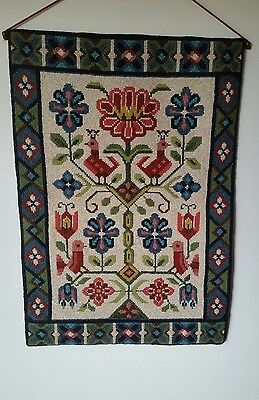 Beautiful Hand Made Vintage Folk Art  Design Tapestry Wall Hanging 61cms x 43cms