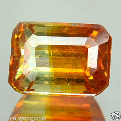 1.08 Cts Natural Sphalerite Bi-Color Orange Octagon Cut Spain (FREE SHIPPING)