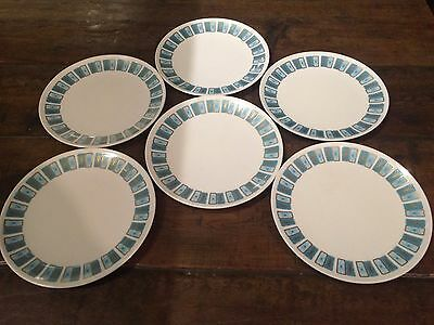 MELMAC Dinnerware 6 Plates Torquoise White Made in Canada