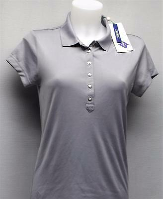 New Ladies MEDIUM Daily Sports Silver cap sleeve polyester golf polo