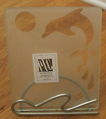 #A9 Glass Etched Dolphin Picture Frame - Dolphin with Ball EUC