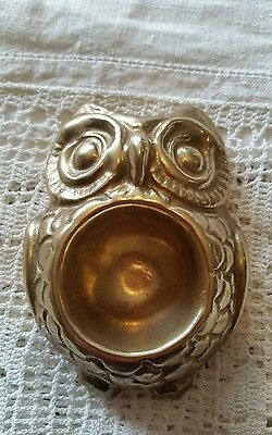 Vintage Brass Cast Owl Egg Cup Made In Italy