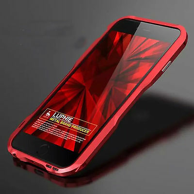 Luxury LUPHIE Aluminum Frame Metal Bumper Cover Case For Apple iPhone 7 Red