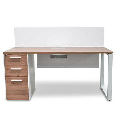 Halo 1 Seater Office Desk With Privacy Screen - Walnut
