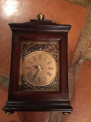 bombay clock vintage mantle wood brown gold fireplace bedroom battery 2001 nice