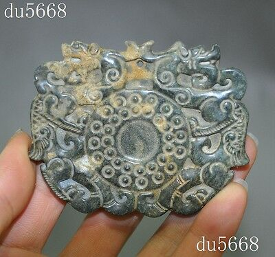 Chinese Old Jade Hand-Carved animal double dragon beast statue amulet Pendant