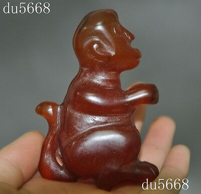 Rare old chinese natural agate hand-carved zodiac animal monkey statue Pendant