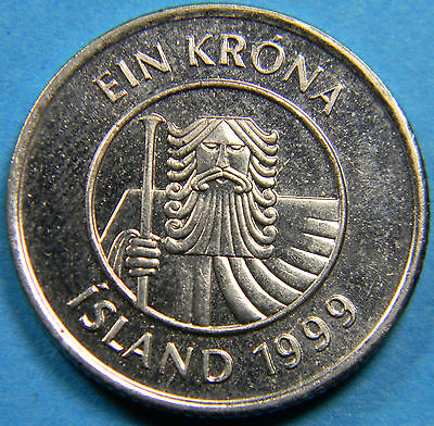 Iceland 1999 Krona coin Magnetic