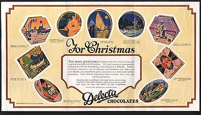 Original 1928 Christmas Advertising Brochure - Delecta Chocolates - U.K.