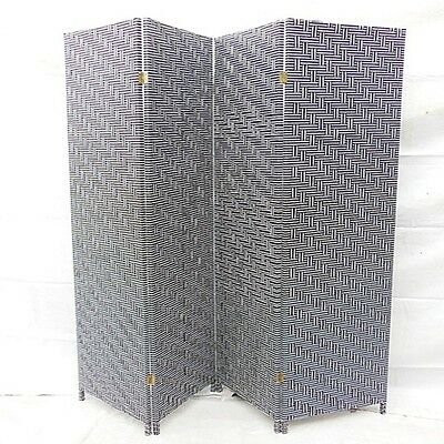 1X Knitted Wave Room Divider 4 Panels Folding Screen - Black&White