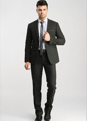 Wool Blended One Button Mens Wedding Suits Groom Tuxedo Jacket+Pants Formal Suit