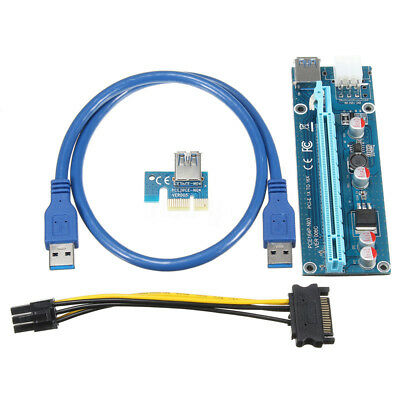 PCI-E PCI Express 1x To 16x Adapter Riser Card Extension Powered USB 3.0 Cable